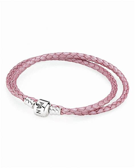 pandora bracelet pink leather wrap with sterling