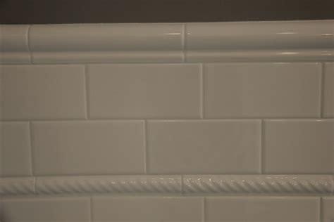 3x6 quot white ceramic subway tile 1 quot rope tile 2 quot ceramic bullnosed railing bathroom remodel