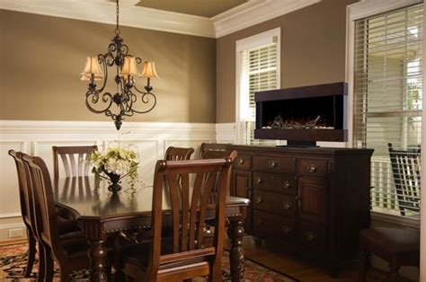 Dining Room Electric Fireplace Chic Dining Rooms Traditional Dining Room Other