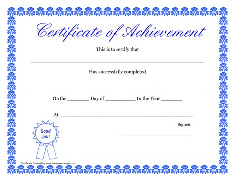 certificate template doc printable certificate of achievement certificate templates