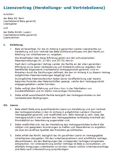 Muster Lizenzvertrag Schweiz Muster Lizenzvertrag Vorlage Zum