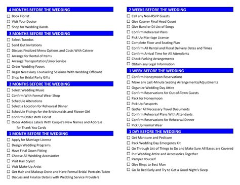 wedding preparation lists army markone co