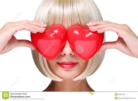 Fashion Blonde Girl With Red Hearts In Valentines Day