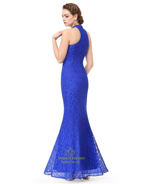 Sleeveless Mermaid Evening Dress royal blue halter mermaid sleeveless floor length evening