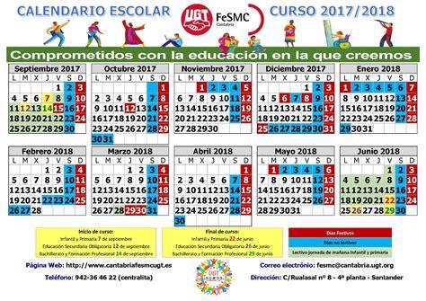 calendario escolar curso 2017 2018 fesmc ugt cantabria