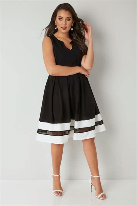 Classa Sling Bag 9014 9887 Black black textured skater dress with contrasting mesh hem