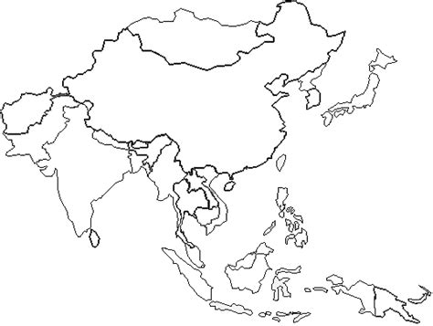 blank map of asia 10 40 window countries blank maps to print and color