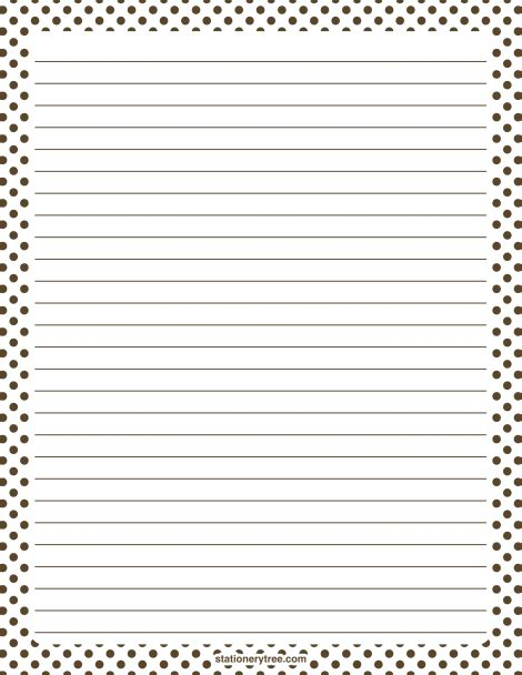 journal paper writing printable brown and white polka dot stationery and writing