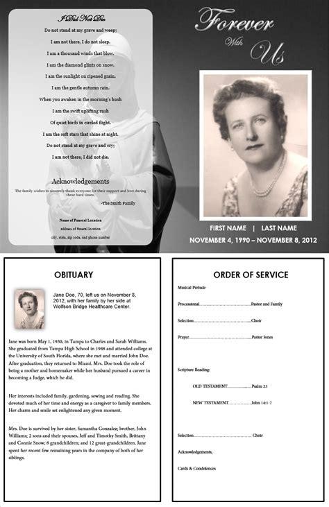 memorial service program template free funeral program template forever with us for the service
