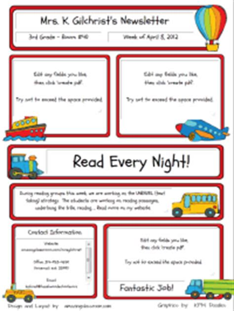 free elementary school newsletter template school newsletter template on school