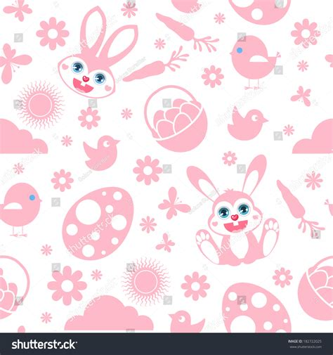 pink easter pattern seamless easter pattern pink on white stock vector
