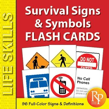 printable road sign flash cards uk survival signs symbols flash cards by remedia tpt