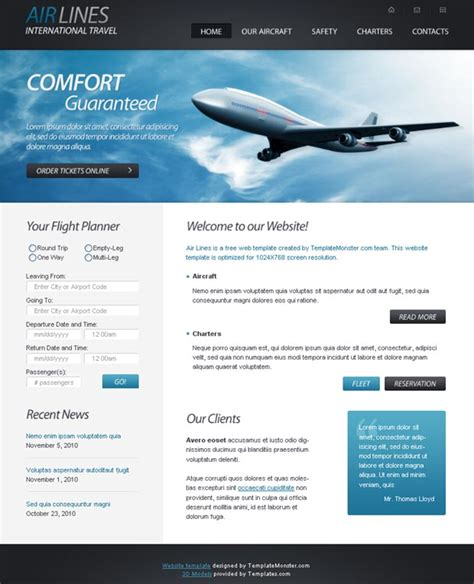 Free Online Html Templates Free Html5 Website Template For Airlines Company Web