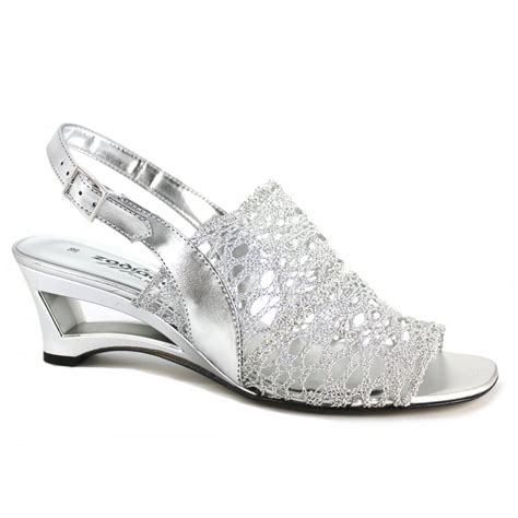7368 nw silver leather wedge peep toe shoe