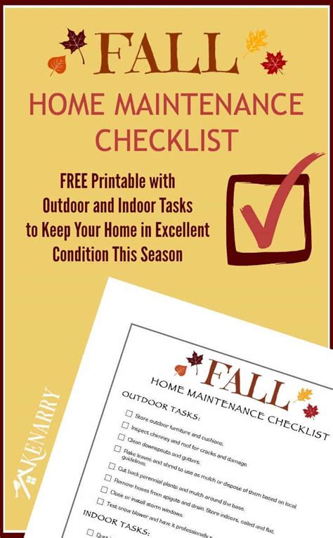 fall home maintenance checklist free printable