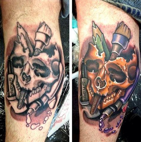 timmy b tattoo colorful skull tattoos