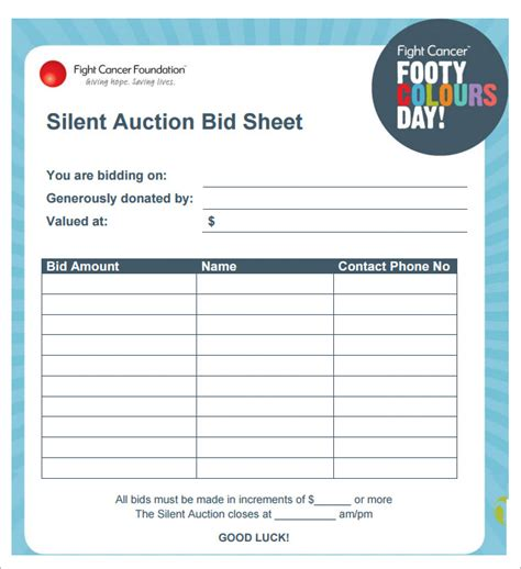 search results for silent auction bid sheets word