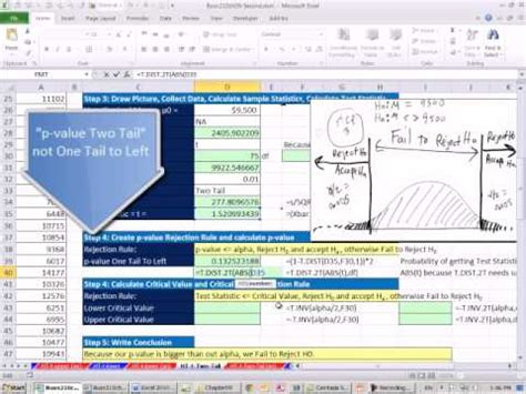 excel 2010 statistics 84 two tail t distribution mean