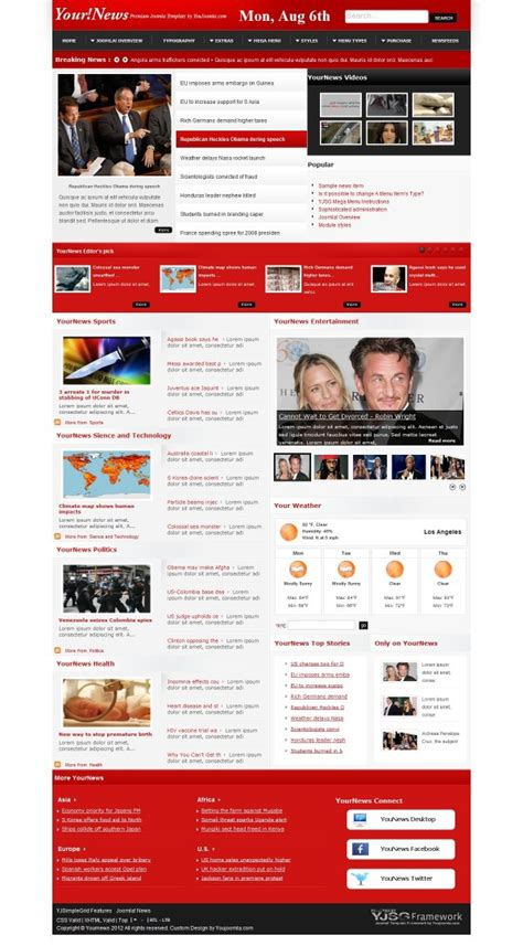template joomla news portal free yournews joomla news portal