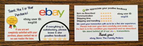 Business Cards For Ebay User Id Sellers The Family Pickers Ebay Thank You Card Template