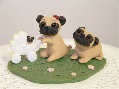 pug cupcake toppers pin black and fawn pug lover wedding cake topper figuirne keepsake cake on