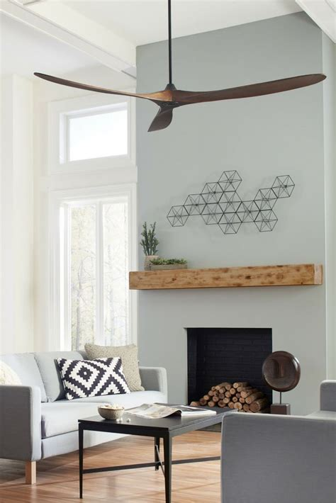 simple solid wood ceiling fan in center of apartment