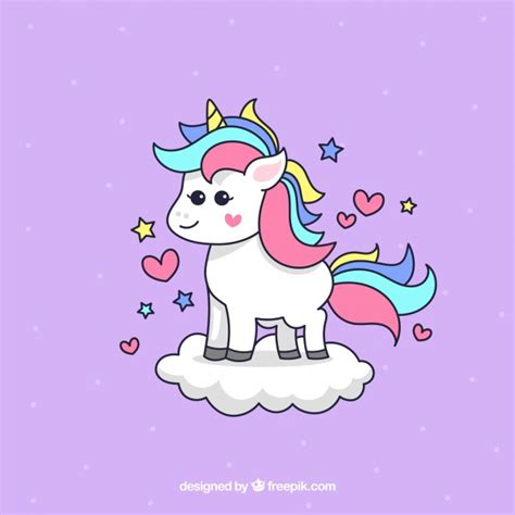 Lovely Unicorn by Background Of Lovely Unicorn On A Cloud Vector