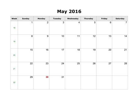 blank template calendar may 2016 may 2016 printable calendar pdf word excel