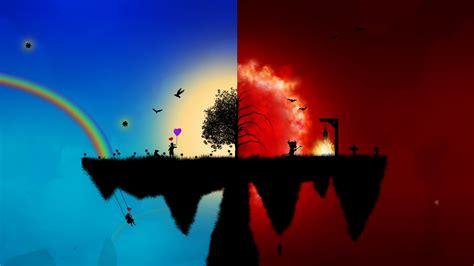 Download Wallpaper 1920x1080 Peace, Red, Blue, Wood, Split