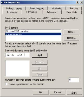 forwarding server ip address conditional forwarding in windows 2003 dns