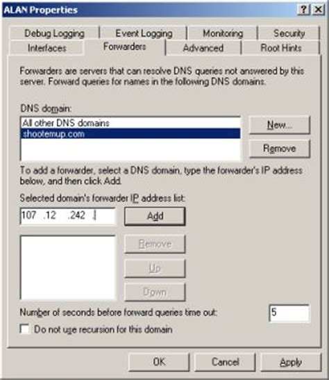 access forwarding servers conditional forwarding in windows 2003 dns