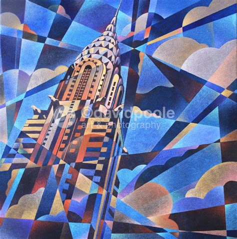 building painting chrysler building art deco abstract photography print of