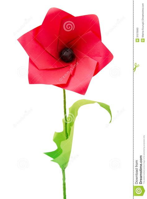 Origami Poppy - origami poppy flower stock photos image 31570563