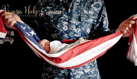 Sailors Soldiers Photoshoot by Veteran Wraps Baby In American Flag Popsugar