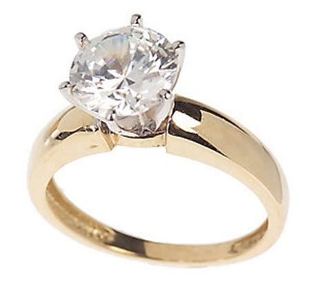 diamonique 2 ct solitaire ring 14k gold qvc