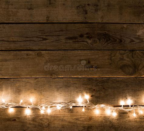 rustic background vintage planked wood with lights and free text space stock image