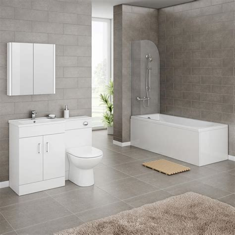 Plumb Centre Bathrooms Suites by Turin Gloss White Vanity Unit Suite Square Single Ended