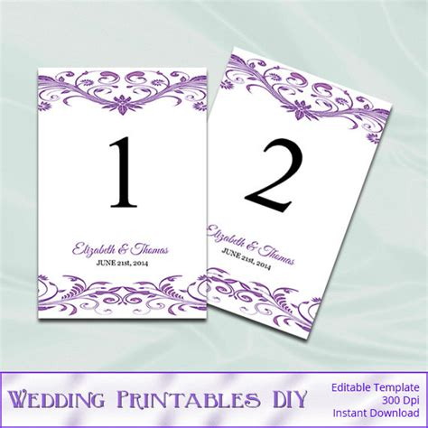 items similar to 4x6 table numbers printable wedding items similar to wisteria wedding table numbers template
