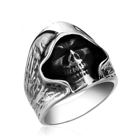 Skull Ring Titanium Sr 003 skull ring titanium stainless steel ring 103673