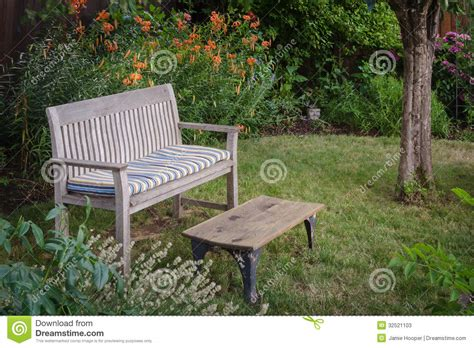 garden bench  table stock  image