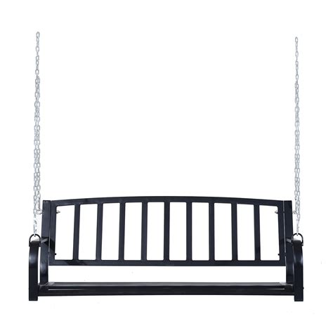 one person porch swing outsunny 2 person outdoor porch swing bench black pop