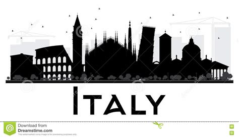 white silhouette italy skyline black and white silhouette stock vector
