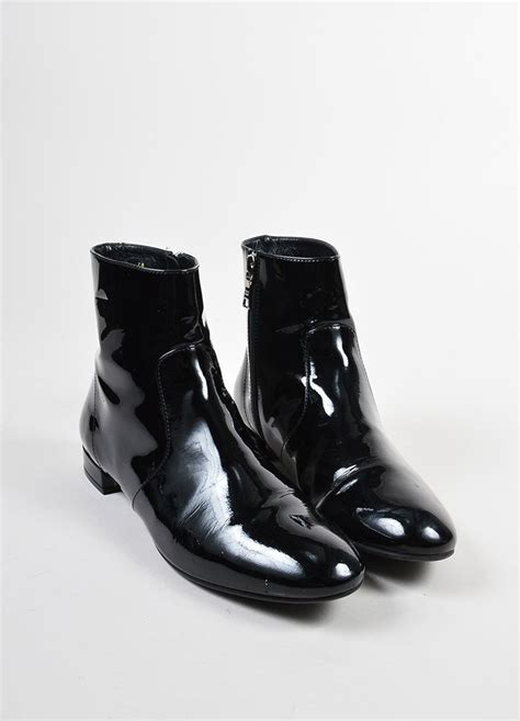 black patent leather flat shoes black prada patent leather flat ankle boots luxury