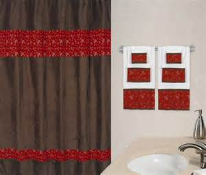 Bath shower curtain red bandana print amp chocolate brown microsuede