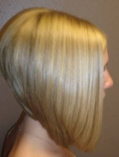 long angled bob hairstyles with back and side views and bangs side view of severe angled stacked bob hairstyle trendy