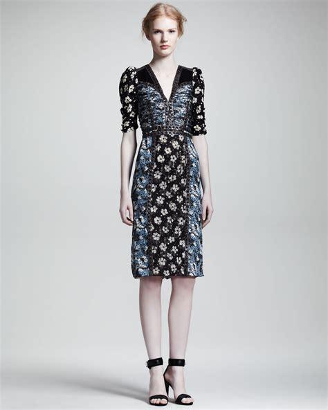 Vumeta Dress 1 bottega veneta mixed floralprint halfsleeve dress in blue lyst