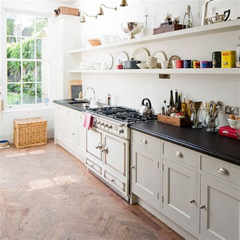 open shelving country kitchen ideas housetohome co uk country style galley kitchen with open shelves smart