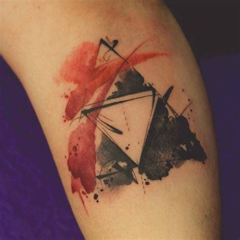 christian watercolor tattoo watercolor triforce tattoo done by artworkofdenersilva