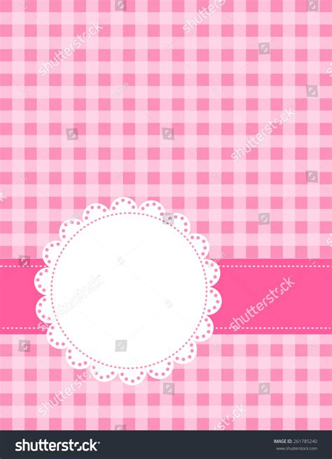 cute lace pattern vector cute pink gingham pattern lace frame stock vector