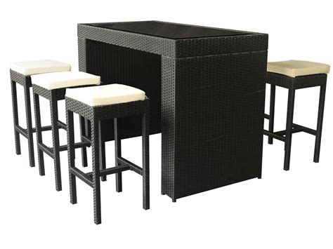 salon de jardin bar salon de jardin haut 6 personnes r 233 sine tress 233 e noir table haute 6 tabourets de bar
